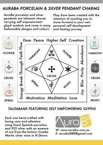 AuraBa Porcelain & Silver Talisman Pendants - Information At A Glance